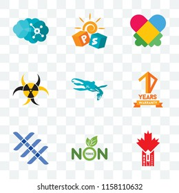 Set Of 9 transparent icons such as made in canada, non toxic, triple x, 10 years warranty, loch ness monster, quarantine, autism, pre school, neuro, can be used for mobile, pixel perfect vector icon
