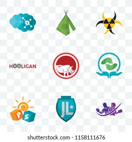 Set Of 9 transparent icons such as gym with purple, pre school, acupressure, save the rhino, hooligan, quarantine, teepee, neuro, can be used for mobile, pixel perfect vector icon pack, transparency
