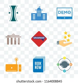 Set Of 9 transparent icons such as travel agent, book now, set top box, customer experience, grammar, municipality, demo, municipal, elastic, can be used for mobile, pixel perfect vector icon pack,
