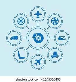 Set of 9 transport filled icons such as whell, truck, alloy wheel, window repair, break, plane, chair