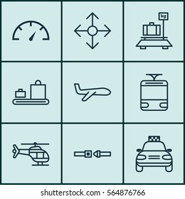 Set Of 9 Transportation Icons. Includes Safety Belt, Air Transport, Streetcar And Other Symbols. Beautiful Design Elements.