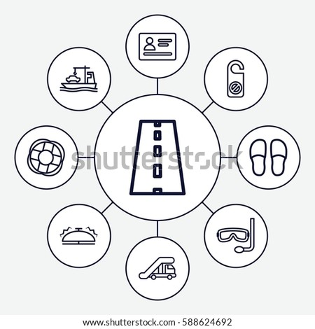 Set 9 Travel Outline Icons Such Stock Vector Royalty Free