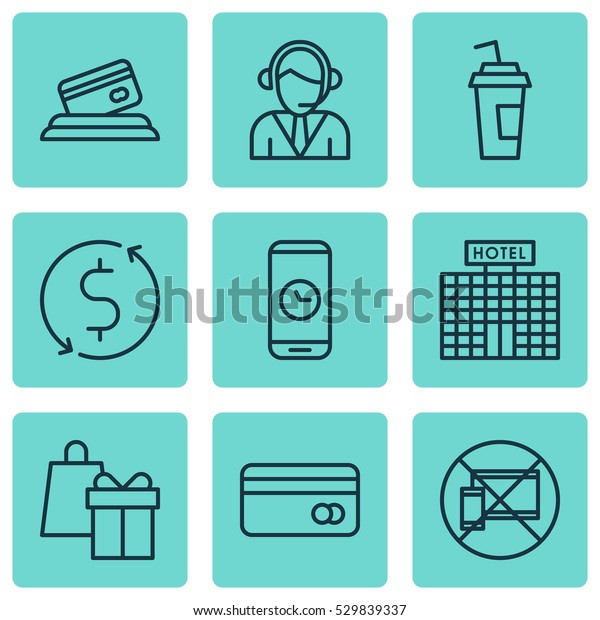 Set Of 9 Traveling Icons. Can Be Used For Web, Mobile, UI And Infographic Design. Includes Elements Such As Money Trasnfer, Shopping, Call Duration And More.