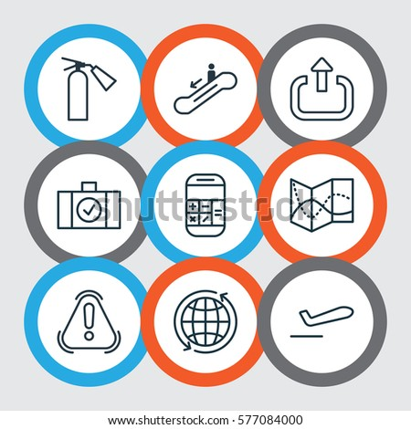 Set 9 Traveling Icons Includes Road Stock Vector (Royalty