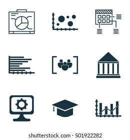 Set Of 9 Universal Editable Icons For Education, Statistics And Project Management Topics. Includes Icons Such As Education Center, Schedule, PC And More.