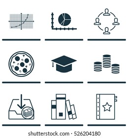 Set Of 9 Universal Editable Icons. Can Be Used For Web, Mobile And App Design. Includes Elements Such As Money, Collaboration, Pizza Meal And More.