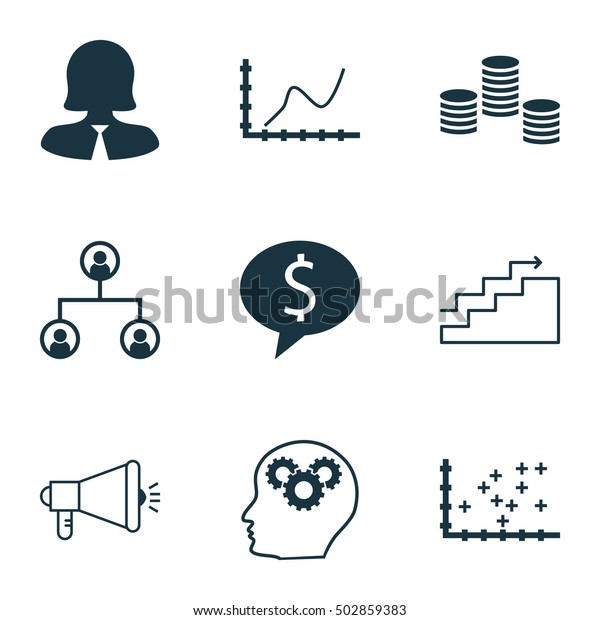 Set Of 9 Universal Editable Icons For Statistics, Project Management And SEO Topics. Includes Icons Such As Growth, Media Campaign, Achievement Graph And More.
