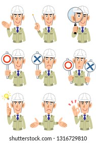 A set of 9 upper-body expressions and gestures of men wearing work clothes wearing helmets 1