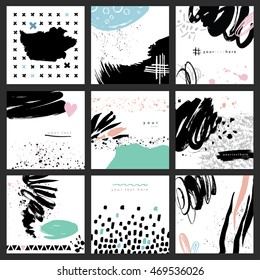 Set of 9 vector abstract cards. Isolated elements: swash, drops, hand drawn with brush pen. Colorful, black and white textured background.