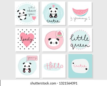 Set of 9 vector adorable cards with panda bear, watermelon and words. Use for greeting cards, gift tags, invitations, stickers, etc.