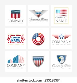 Set of 9 vector elements for logo design