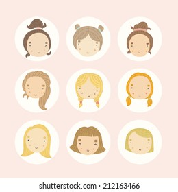 582672cb5 Set Colored Round Icons Different Female Stock Vector (Royalty Free ...