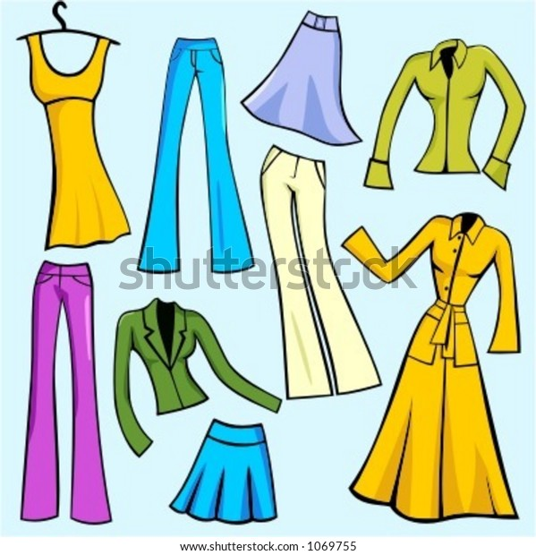 4210b6d8166771 A set of 9 vector illustrations of women's fashion dresses, skirts, pants,  blouses