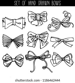 Set of 9 vector ink hand drawn sketches of bows. Vector isolated on white background. Can be used for your design of greeting cards, wedding invitation, decoration of parties and gifts