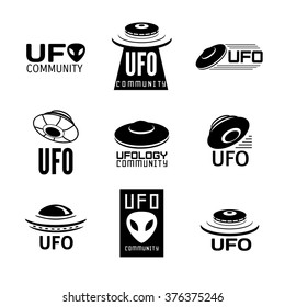 Set of 9 vector  logo with UFO, alias and cosmic ship.