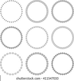 Set of 9 vector ornamental round frames with floral elements