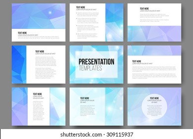 Set of 9 vector templates for presentation slides. Abstract triangle design vector background.