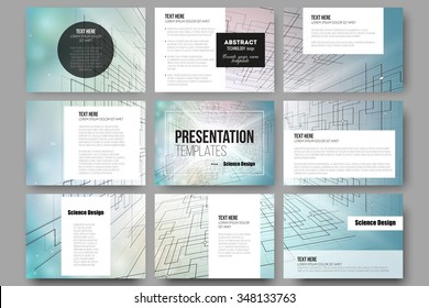 Set of 9 vector templates for presentation slides. Abstract vector background of digital technologies, cyber space.