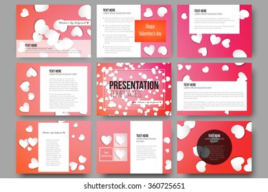 Set of 9 vector templates for presentation slides. White paper hearts, red vector background, Valentines day decoration.