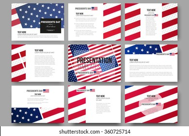 Set of 9 vector templates for presentation slides. Presidents day background with american flag, abstract vector illustration