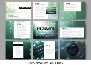 Set of 9 vector templates for presentation slides. DNA molecule structure on a green background. Science vector background.