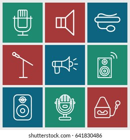 Set of 9 voice outline icons such as pin microphone, megaphone, speaker