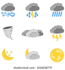 Set of 9 Weather Icon . Weather label for Web on white background. Cartoon Vector Illustration.