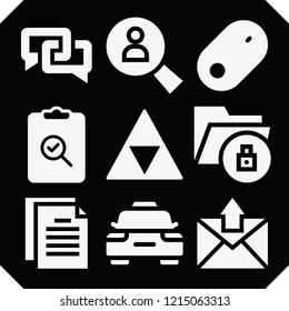 Set of 9 web filled icons such as checking, survey, zelda, mouse, search, chat, data, files and folders