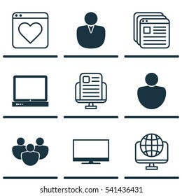 Set Of 9 Web Icons. Includes Website Bookmarks, PC, Blog Page And Other Symbols. Beautiful Design Elements.