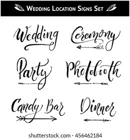 Set of 9 Wedding, Birthday, Baby Shower Party Hand-drawn and Hand-lettering Location Signs. Directions with arrows: Photo booth, Candy Bar, Dinner, Ceremony. Hand lettering Brush Modern Calligraphy.