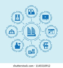Set of 9 window filled icons such as car window lift, skycrapers cleaning, browser, curtains, mansard roof, video player, supermarket, cashier