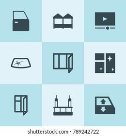 Set of 9 window filled icons such as car window lift, car door, skycrapers cleaning, video player