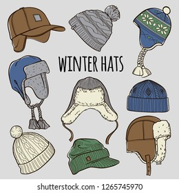 Set of 9 winter colored caps and hats sketches: baseball cap, ear flap hat, knitted hats, hats with a pom pom, fisherman beanie. Vector hand drawn illustration