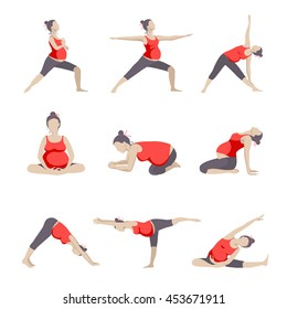 Set of 9 Yoga poses for Pregnant women. Prenatal exercise. Vector illustration.