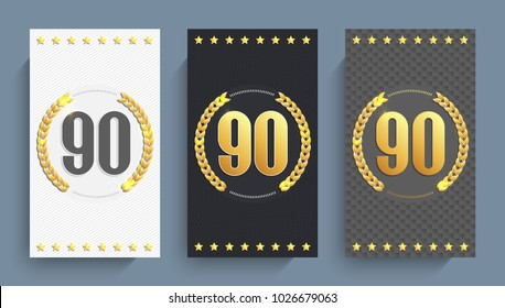 Set of 90th anniversary cards template. Vector illustration.
