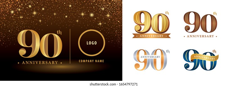 Set of 90th Anniversary logotype design, Ninety years Celebrating Anniversary Logo silver and golden, Vintage and Retro Serif Number Letters, Elegant Classic Logo for Congratulation celebration event.