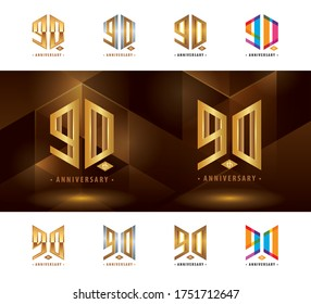 Set of 90th Anniversary logotype design, Ninety years Celebrate Anniversary Logo, Abstract Hexagon logo for Congratulation celebration event, invitation, greeting, Force, army, power, academy