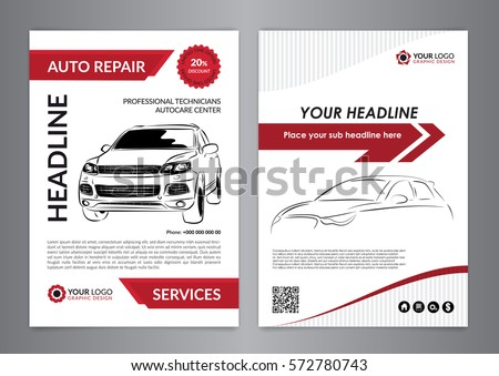 Set A 4 Auto Repair Business Layout Stock Vector Royalty Free
