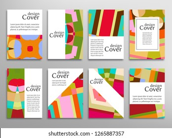 Set of A4 cover, abstract composition. Colorful header design for flyer, book, info banner frame, title sheet. Colored geometric shapes. Modern design. Brochure template layout. Vector mockup isolated