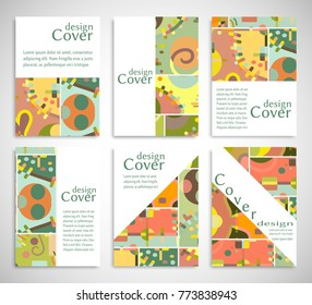 Set of A4 cover, abstract composition. Colorful header design for flyer, book, info banner frame, title sheet. Colored geometric shapes. Modern design. Brochure template layout. Vector illustration