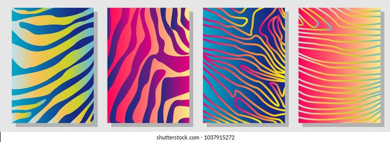Set of A4 covers with expressive zebra pattern. Template for cards, banners, posters. New minimalism design. Expressive stripped animal print. Red, yellow, purple, blue.