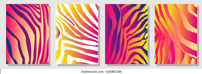 Set of A4 covers with zebra pattern. Template for cards, banners, posters. New minimalism design. Expressive stripped animal print. Red, yellow, white.