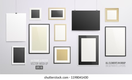 Set of A4 horizontal vertical and square Posters and Frame on the wall realistic vector Mockup template. Blank empty Mock-up frame and poster template for modern art, photography, logo presentation
