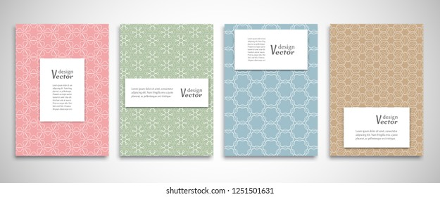 Set of a4 line backgrounds with ornament in arabian style. Colorful cover header design for flyer, book, info banner frame, title sheet. Lace pattern pages collection. Brochure template layout