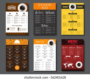 Set A4 menu for cafes and restaurants. Templates of different colors, with drawings by hand and a cup of black coffee. Vector illustration.