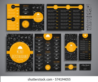 Set A4 menu, folding brochures and flyers narrow for a restaurant or cafe. Templates of black and orange colors, with drawings by hand and round elements. Vector illustration