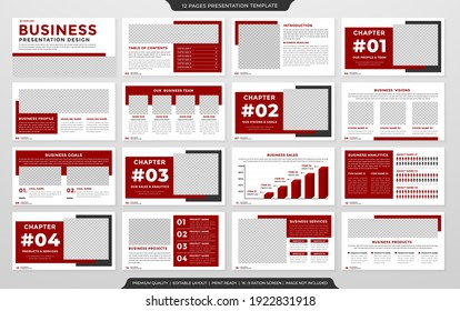 set of a4 multipurpose presentation layout template design with clean style use for business marketing and  corporate identity