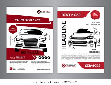 Set A4 rent a car business flyer template. Auto service Brochure templates, automobile magazine cover, mockup flyer. Vector illustration.