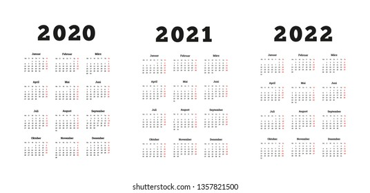 Set of A4 size vertical simple calendars in german at 2020, 2021, 2022 years on white