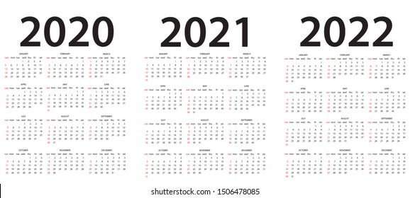 Set of A4 size vertical simple calendars in french at 2020, 2021, 2022 years on white